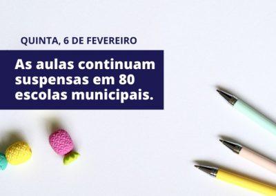 Oitenta escolas de Nova Iguaçu seguem com aulas suspensas por causa da qualidade da água